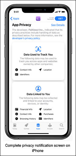 Apple privacy notification screen 5.21